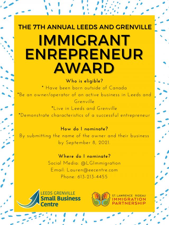 Immigrant Entrepreneur Award Poster